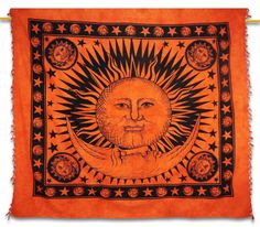 Beautiful Indian Screen Printed Cotton Sun, moon and star Print Tapestry or Bed Cover in Twin size.this is img Table Runner And Placemats, Table Runner Pattern, Quilted Table Runners, Kitchen Decor Items, Handmade Wall Hanging, Dining Table In Kitchen, Tapestry Wall Hanging, Bed Covers, Home Decor Styles