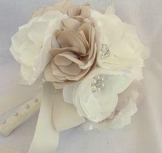 Handmade Fabric Bridal Bouquet in Ivory by browneyedgirlsboutiq, $180.00