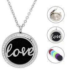 Damen Edelstahlkette LOVE mit kristall Steinchen Washer Necklace, Piercing, Jewelry, Fashion, Great Gifts, Crystals, Sachets, Stones, Women's