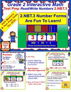 "No Prep! Interactive Math PowerPoint Task Cards—to reinforce students' practice and mastery of 2.NBT.3: Read and write numbers to 1000 using base-ten numerals, number names, and expanded form. The task card problems progressively develop the 10 ""I can"" statements and clarify the entire 2.NBT.3. Smile as you watch your students focus, engage, and enjoy Grade 2 Math Interactive Test Prep, as well as receive instant reinforcement on correct thinking about math."