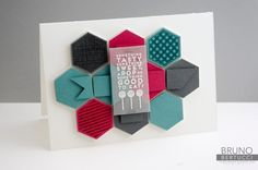 handmade card by Bruno Bertucci | Stampin' Up! | Num-Num | Six-Sided Sampler ... punched hexagon block ... vellum rectangle  with white embossed sentiment ...