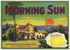 'Morning Sun - Sunkist Lemons' A Beautiful Glossy Art Print Taken From a Vintage Produce Crate Label