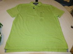 Men's Tommy Hilfiger Polo shirt striped 7875525 Bright Lime 352 XXL Classic Fit #TommyHilfiger #polo