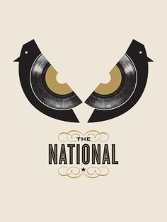 The National gig poster (birds/record) Gig Poster, Poster Prints, Tour Posters, Band Posters, Movie Posters, The National Band, Jason Munn, Singer Songwriter, Poster Colour