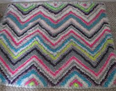 Rug Bright Neon Zig Zag by Fairyhome on Etsy, $128.80