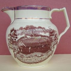Creamware Cotton Spinners Jug Baddeley Print RALPH 1820 £81 repaired