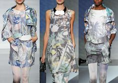 Emporio Armani S/S 2014-Monet Inspired Water Lillies – Enchanted Gardens – Soft and Faded Watercolours – Tropical Forest Prints – Blurred Palm Leafs – Iridescent an...