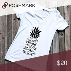 Be a P I N E A P P L E tee! Super cute graphic tee! Perfect for summer with a cute pair of shorts and a messy bun! New with tags size Small, Medium, or Large! Fringe Creations Tops Tees - Short Sleeve
