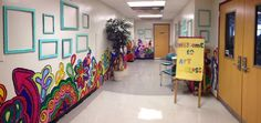 Mural and frames outside of the art room- mural done by the 4th grade art club last school year.