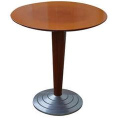 Art Moderne Style Cafe' or End Pedestal Table with Metal Base
