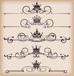 Victorian Scrolls and crown. Ribbon Tattoos, Best Stocks, Art Pages, Tattos, Ribbons, Vector Art, Body Art, Graffiti, Royalty Free Stock Photos