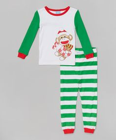 Look what i found on zulily green stripe monkey pajama set infant