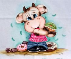 Kinds Of Cookies, Cow Art, Minnie Mouse, Disney Characters, Fictional Characters, Draw, Fabric, Crafts, Cows