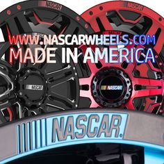 www.nascarwheels.com #madeinamerica #nascarwheels Get yourself a set of AMERICAN made wheels engraved with the NASCAR logo. Enter code MADEINAMERICA for 15% off your order.