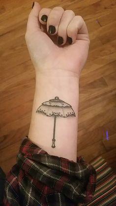 Dainty umbrella tattoo. #dainty #umbrella #tats #tattoo #cutetattoo