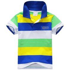 Stile di Modo di estate Dei Capretti Del Bambino Dei Ragazzi del Cotone T-Shirt A Righe Multi Colore Manica Corta Top S-XXL