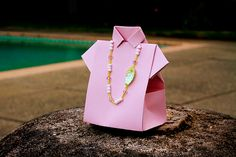 shirt favor box with bead necklace
