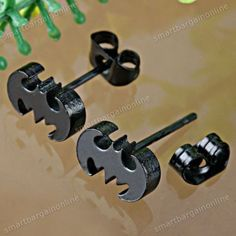 Black Bat Batman Stainless Steel Ear Stud