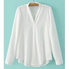 Casual V-Neck Long Sleeve Pure Color Shirt For Women — 15.66 € --Size: S Color: WHITE