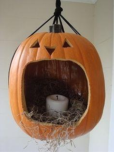 Halloween hanging Jack pumpkin candle door entry - Cupcakepedia