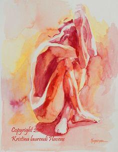 "artist Kristina Laurendi Havens, watercolor, ""Hiding Figure"" Intense Reds and Orange - Fine Art Print"