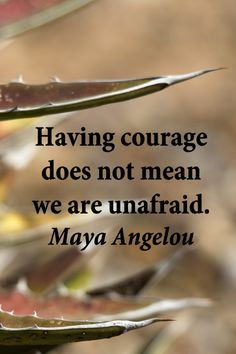 """Having courage does not mean we are unafraid."" – Poet, Maya Angelou – Image by Florence McGinn"