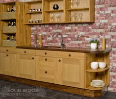 In This Image Our Solid Oak Base Cabinets Are Accompanied By Full Height,  Wall,