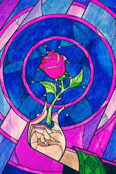 Beauty & The Beast stained glass rose