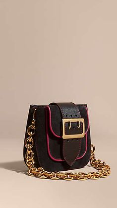 The Buckle Bag – Square in Suede and Leather Black
