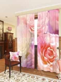 """Комплект штор """"Розовые розы"""": купить комплект штор в интернет-магазине ТОМДОМ #томдом #curtains #шторы #interior #дизайнинтерьера"""