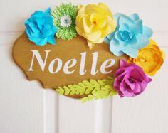 Customizable door Sign with Paper Flowers, door sign custom, wedding chair sign, paper flower sign, name plaque, little girl bedroom sign - Edit Listing - Etsy $50