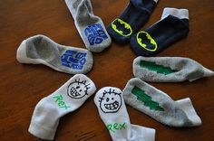 Use Puff Paints on socks to make them non-skid...this is a blogger with a lot of great craft ideas.