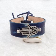 Hamsa leather cuff bracelet