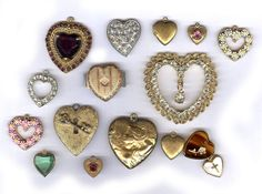 vintage HEART BOX LOT charms antique rhinestone lockets findings repurpose sparkle sixteen charms box lot assorted hearts by beadtopiavintage on Etsy