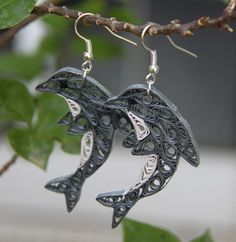 Quilled dolphins earrings