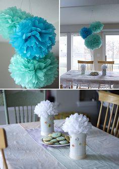 Cute as a Button baby themed shower with tissue poms.   #tissuepoms #babyshowerideas http://www.nashvillewrapscommunity.com/blog/2010/07/how-to-make-tissue-flower-pom-poms/