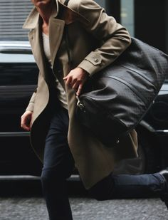 Gray pants, tee and trench coat
