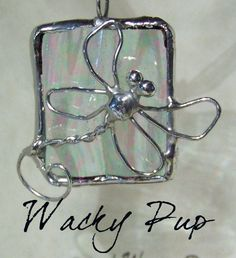 Shimmering Dragonfly Iridescent Stained Glass & Wire Soldered Pendant or Charm N