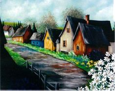 Walk down this lane Watercolor Barns, Watercolor Paintings, Watercolours, House Painting, Painting & Drawing, Painting Styles, Old Farm Houses, Country Scenes, Fashion Painting