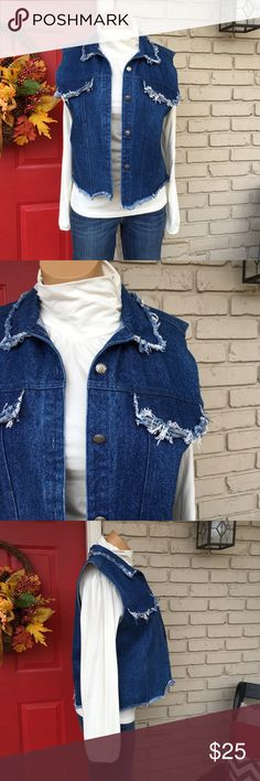 Vintage denim fringe vest Denim vest with button down front and distressed fringe accents. So fun!! Vintage Jackets & Coats Vests