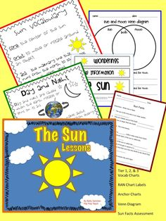 The Sun activities include RAN Chart labels, Tier 1, 2, & 3 vocab charts, Day & Night Anchor Charts, Sun Facts assessment and more. Perfect for the primary grades.
