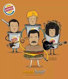 Freddie Mercury. Brian May. Roger Taylor. John Deacon. Queen.
