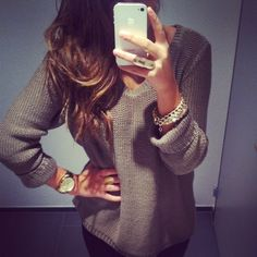 Comfy sweaters with cute accessories