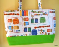 Gift for her Handmade Designer Sewing bag Oil cloth and Cotton Tote Bag Fabric Tote.  Gift Ideas (50.00 USD) by ComfyCosyCrafts