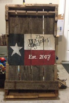 Custom Wine Rack with Texas Flag Made from reclaimed pallets / old pallet wood / old pallets. CREATED BY 4:13 REDEEMED CREATIONS (*LIKE US ON FACEBOOK!)