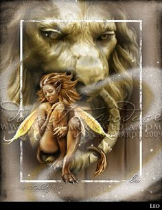 Leo ... ZODAIC Fairy Fantasy Art...Lion... Fairy Art... Bold Fire Yellow Fairy