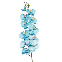 Get artificial blue wedding flowers like this beautiful, faux phalaenopsis orchid spray in turquoise. This gorgeous turquoise natural touch orchid spray is so realistic, and it will give your DIY wedding arrangements stunning height and elegance! #fauxflowers
