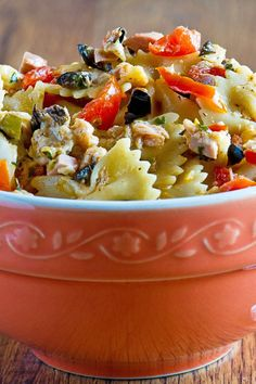 Recipe including course(s): Entrée; and ingredients: celery, cherry tomato, low-fat mayonnaise, pasta, red pepper, salsa, scallion, tuna in water, yellow bell pepper
