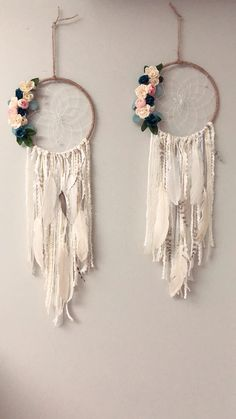 Navy blue and pink floral dream catcher
