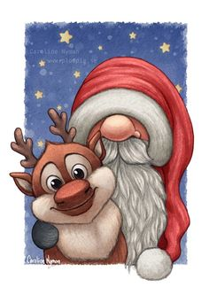 ArtStation - Little Santa and his little reindeer, Caroline Nyman Christmas Gnome, Christmas Art, Winter Christmas, Christmas Decorations, Santa Paintings, Christmas Paintings, Christmas Cartoons, Christmas Clipart, Large Christmas Baubles